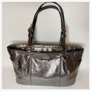 COACH F 17721 Gallery Signature Silver Leather Bag